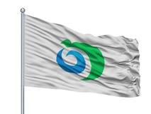 Noshiro miasta flaga Na Flagpole, Japonia, Akita prefektura, Odizolowywająca Na Białym tle ilustracji