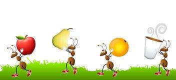 nosi przekąski kreskówki mrówki. ilustracja wektor