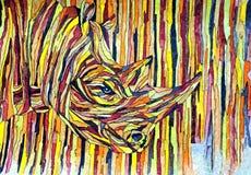 nosorożec Malować mokrą akwarelę na papierze Naiwna sztuka Rysunkowa akwarela na papierze ilustracja wektor
