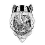 Nosorożec, nosorożec dzikie zwierzę jest ubranym rugby hełma sporta ilustrację Obraz Stock