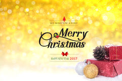 Nosotros con usted una Feliz Navidad muy y un texto de la Feliz Año Nuevo 2017 Imagen de archivo