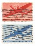 Nosotros sellos del correo aéreo Fotografía de archivo