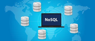 NoSQL non relational database concept world wide distribution Stock Photo