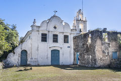 Nossa Senhora da Coneicao Convent Itanhaem. The facade of the typical colonial Nossa Senhora da Conceicao Convent with its blue wood windows and doors and its Stock Photos