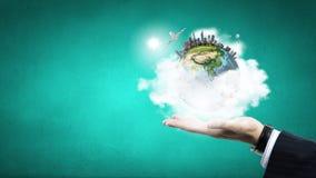 Nosso planeta em nossas mãos Imagens de Stock