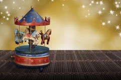 Nostalgi för vintege för hästar för karusell för jul för musikask royaltyfri foto