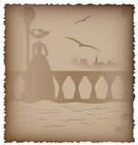 Nostalgia. Old paper with a pattern - a figure of a woman on the bridge and town stock illustration