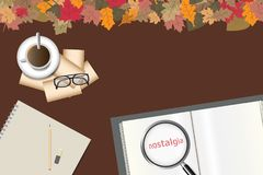 Nostalgia concept vector. Empty open book with the inscription of nostalgia magnified under magnifying glass, glasses, old blank photos and cup of coffee are stock illustration