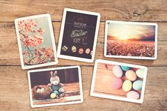 Nostalgia of Happy easter. Photo album in remembrance and nostalgia of Happy easter on wood table. instant photo of vintage camera - vintage and retro style Stock Photos
