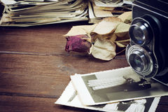 Nostalgia photo with camera and wedding photos Royalty Free Stock Image
