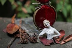 Nostalgia Series showing antique German porcelain doll in autumn leaves stock photography