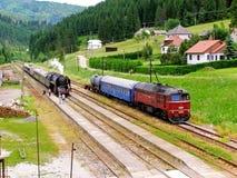 Nostalgia sul vapore della ferrovia e sul treno diesel Fotografia Stock Libera da Diritti