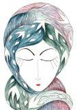 Nostalgia symbolicznie reprezentująca kobieta portretem - kolor ilustracji
