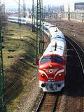 Nostalgia train on Hungary. NOHAB locomotive. Red train. Nostalgia train on Hungary. Miskolc city, 19.march.2010. Transcarpathia express train. Red train with Royalty Free Stock Photography