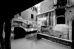 Nostalgia in Venice. Abandoned canal in Venice black and white Royalty Free Stock Photos