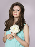 Nostalgia. Young Adorable Teen Girl with Peony Flower Royalty Free Stock Images