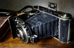 Nostalgic antique bellows camera Royalty Free Stock Photo