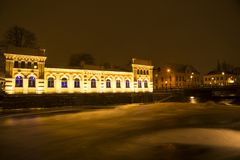 Nostalgic and beautiful night view at Uppsala pump house stock photos