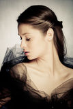 Nostalgic beauty. Beautiful elegant nostalgic beauty woman portrait stock photo