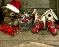 Nostalgic christmas decoration with antique toys Royalty Free Stock Photography