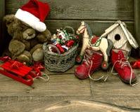 Nostalgic christmas decoration with antique toys Royalty Free Stock Photography