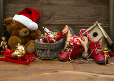 Nostalgic christmas decoration with antique toys Royalty Free Stock Images