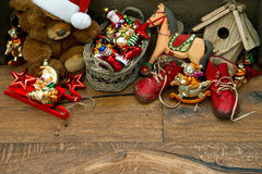 Nostalgic christmas decoration with antique toys Stock Image
