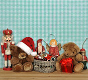 Nostalgic christmas decoration with antique toys Stock Images