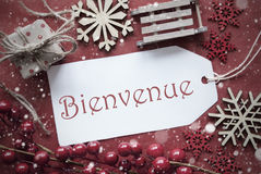 Nostalgic Christmas Decoration, Label With Bienvenue Means Welcome Stock Images