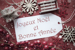 Nostalgic Christmas Decoration, Label With Bonne Annee Means New Year Royalty Free Stock Images