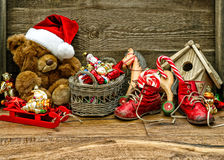 Nostalgic christmas decorations with antique toys Royalty Free Stock Photography