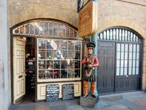 Nostalgic cigar shop with shop window and image, England London stock photo