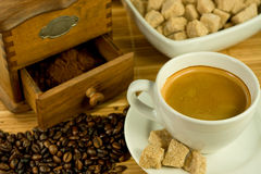 Nostalgic coffee mill and coff Stock Photography