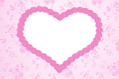 Nostalgic floral background with pink heart stock image