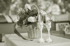 Nostalgic Flowers and wine at the celebration Royalty Free Stock Image
