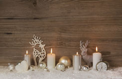 Nostalgic golden, brown and white wooden christmas background wi stock images