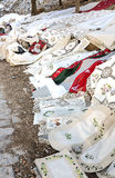 Nostalgic handmade tablecloths Royalty Free Stock Image