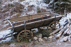 Nostalgic hay cart with hoarfrost in winter Stock Images