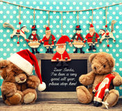 Nostalgic home christmas decoration with antique toys Royalty Free Stock Photography
