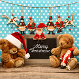 Nostalgic home christmas decoration with antique toys Royalty Free Stock Images