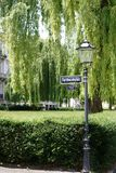 Ferdinand square Bad Homburg. A nostalgic lantern with street sign of Ferdinand square in Bad Homburg royalty free stock photography
