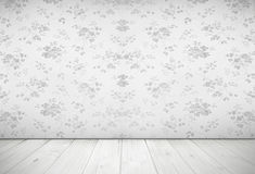 Nostalgic living room design with vintage rose wallpaper, light Stock Photography