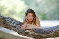 Nostalgic moments of a beautiful girl as she rests on a tree trunk Stock Image