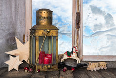 Nostalgic old christmas decoration with old toys and a old lante Stock Images