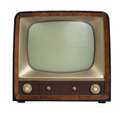 Nostalgic old TV set. Studio photography of a nostalgic old TV set in white back Royalty Free Stock Photos