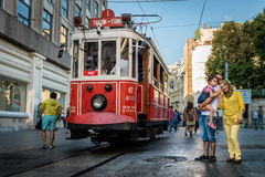Nostalgic red tram of Taksim in Istanbul, Turkey. Royalty Free Stock Photo