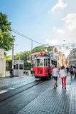 Nostalgic red tram of Taksim in Istanbul, Turkey. Stock Photos