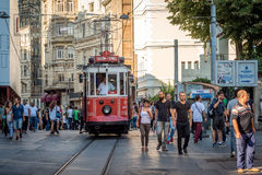 Nostalgic red tram of Taksim in Istanbul, Turkey. Royalty Free Stock Photography