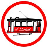 Nostalgic red tramway red circular road sign warning. The Istanbul nostalgic tramways are two heritage tramlines in the city of Istanbul, Turkey Stock Images