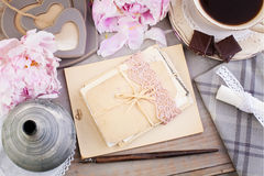 Nostalgic Retro Background of Old Letters, Post Cards, Peony stock image